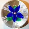 "DCP04697D4-""S78""-Blue...Strathearn D4 Magnum ""S78"" Blue flower over five double latticino twists & clear ground, 3.7"" x 3.6"" & 43 ozs. Flat cut polished base. No label. Signed & dated ""S78"" center cane. Discontinued May 1, 1978. acquired 01-30-06."